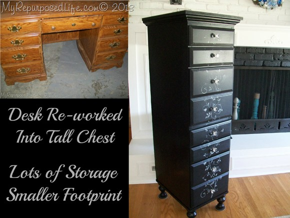 diy project desk repurposed into a tall drawer chest
