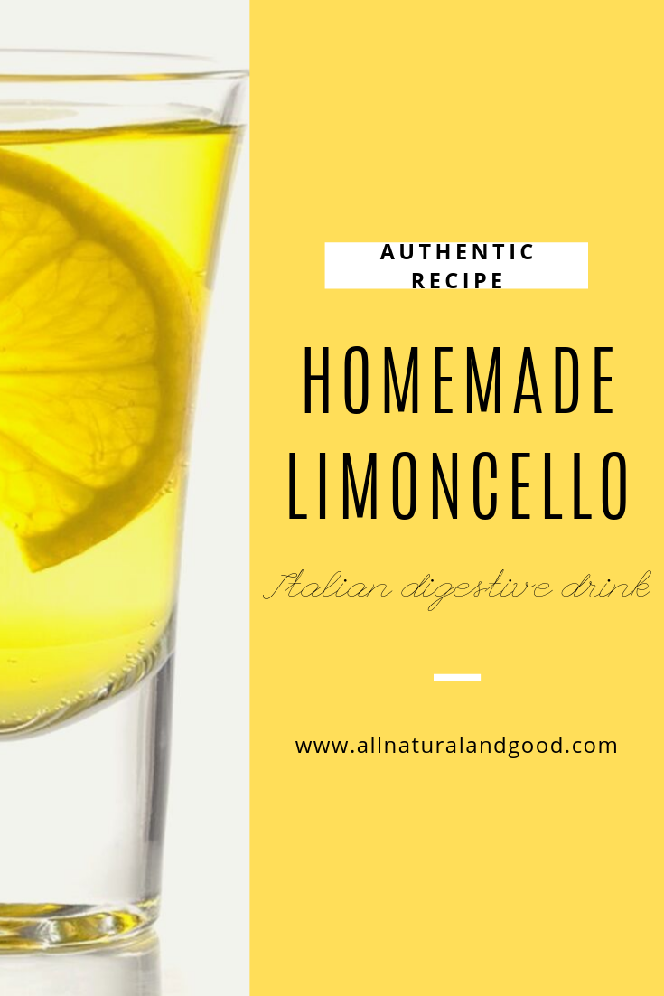 Homemade authentic Italian limoncello is a sweet alcoholic digestive dessert or post-dinner drink with zesty lemon flavor. Here is a DIY recipe. #limoncello #homemadelimoncello #italiandrink