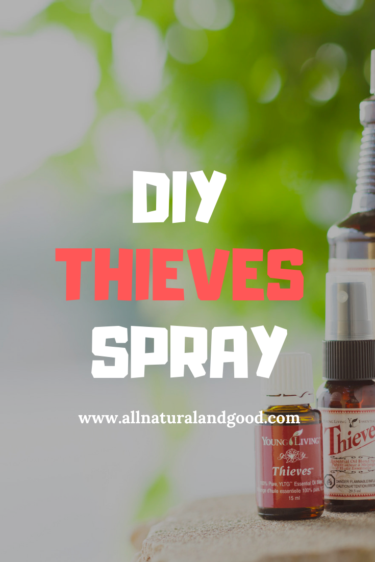DIY homemade Thieves essential oil spray for cleaning hands and surfaces on the go.