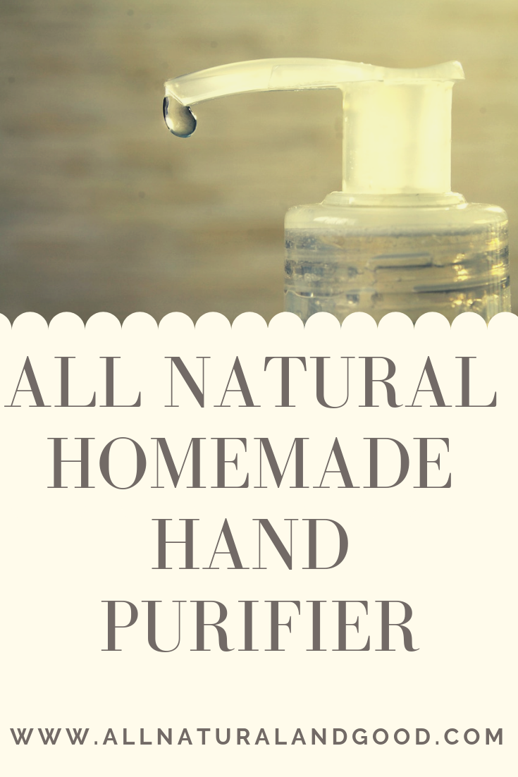 Homemade DIY all natural hand sanitizer purifier hand cleaner using thieves essential oil.