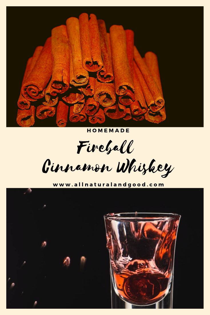This DIY homemade fireball cinnamon whiskey recipe has no additives or dyes. Make your own