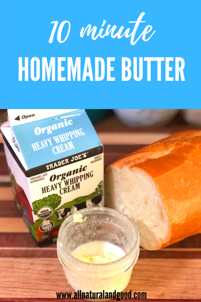 Quick and fun 10 minute homemade butter using only one ingredients and a jar!