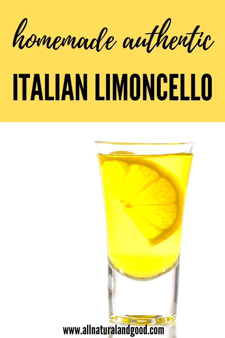 Homemade authentic Italian limoncello is a sweet alcoholic digestive dessert or post-dinner drink with zesty lemon flavor. Here is a DIY recipe.