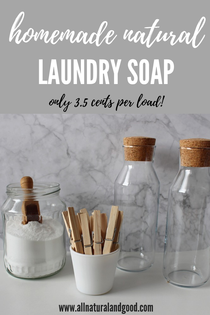 This cheap all natural homemade laundry detergent soap costs only 3.5 cents per load and is he friendly.
