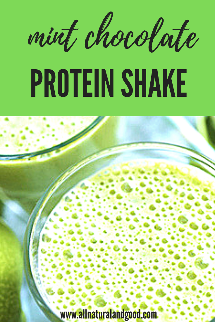 Mint chocolate protein shake recipe using peppermint oil for post-workout, breakfast or snack.