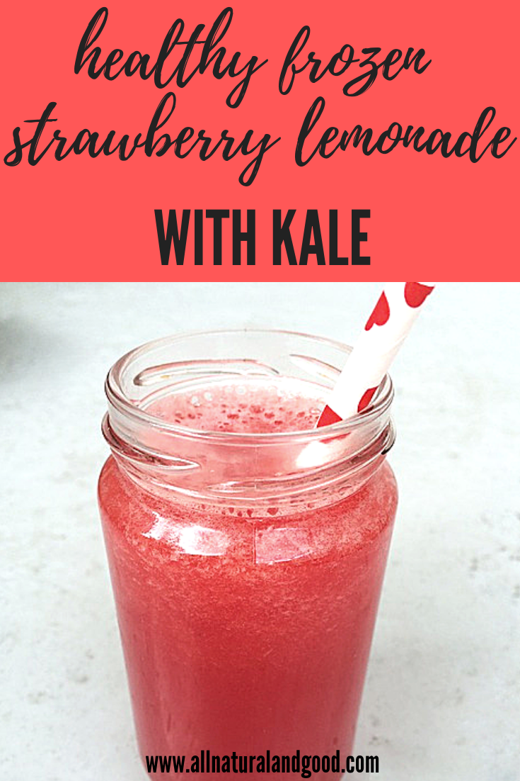 This frozen strawberry lemonade is so healthy you would not believe it has kale in it! I was so thrilled I was able to sneak in the kale without my kids noticing.