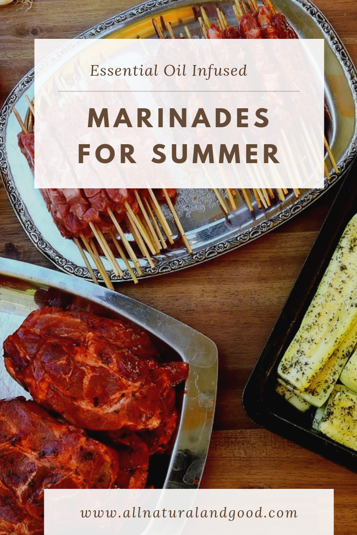 Here are some recipes for essential oil infused marinades to inspire you for summer grilling and barbecuing. These healthy marinades are perfect for meats, fish and vegetables too!
