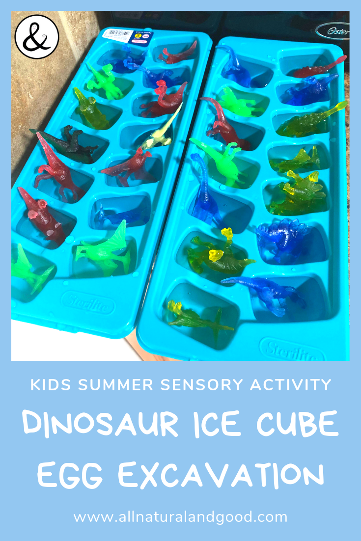 Cool down this summer with the treasure ice cubes sensory play and science activity for toddlers, preschools and kids. Break the ice with this outdoor activity for kids. Make them into frozen dinosaur eggs, bugs, animals or other mini toys or treasures to excavate. #sensoryactivity #summerideas #outdoorplay #scienceplay
