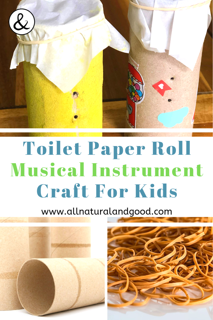 This toilet paper roll craft for kids uses toilet paper roll cardboard tubes to make musical instruments for toddlers and kids. What a creative DIY project making a kazoo out of toilet paper rolls. Homemade kazoos are a fun way to make noise with upcycled materials. #toiletpaperrollcraft #homemadekazoo #musicalinstrumentcraft
