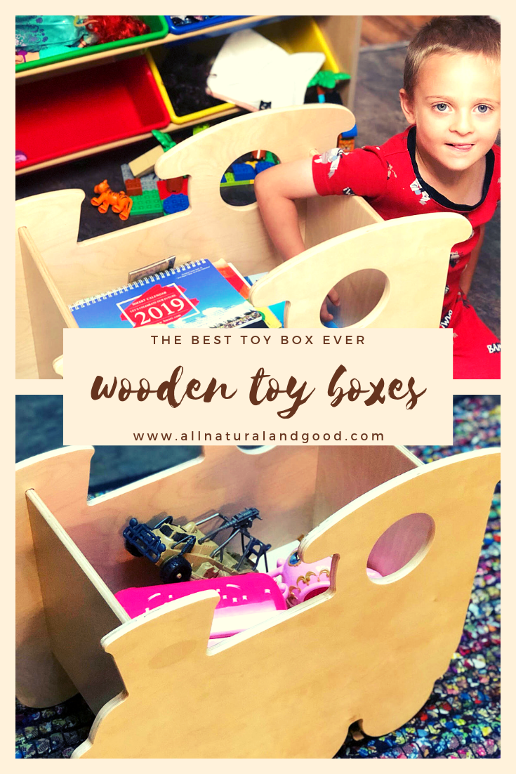The best wooden toy boxes for kids and toddlers. They are non-toxic, high-quality, made in the USA, free of toxic fumes, can be ordered unfinished, timeless, durable, sturdy and built to last. Pick from a train, whale or elephant wooden toy box. #woodentoybox #toybox #nontoxictoys
