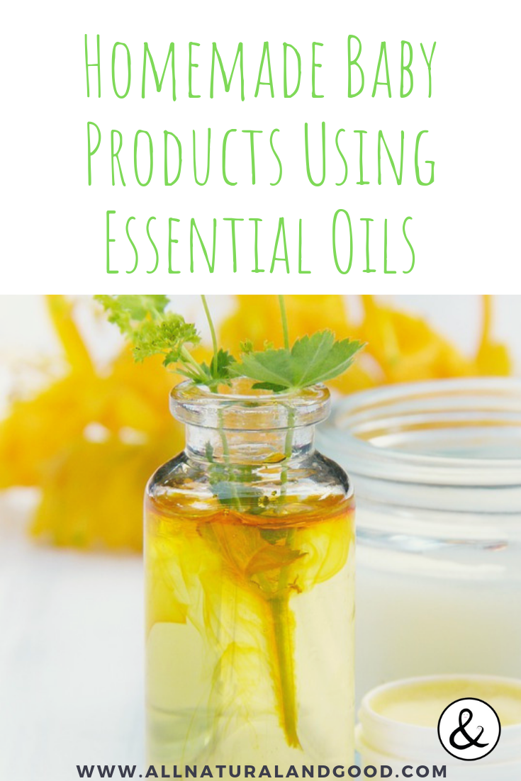 Homemade baby care products will save you money and you won\'t have to wonder what the heck those ingredients are on those labels. Here are some recipes for homemade baby products using essential oils. #essentialoils #oilsforbabies #homemadeproducts