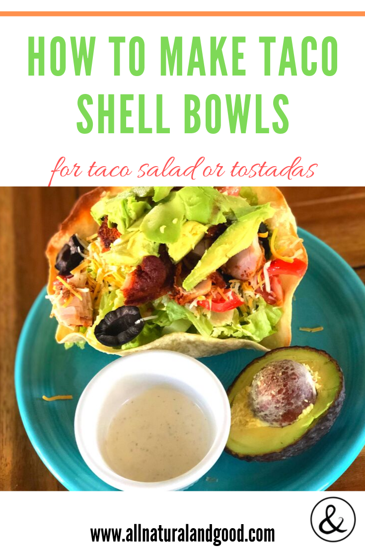 How to make taco shell bowls for taco salad or tostadas. Taco salad has been my go-to meal lately. Some may call them tostadas, but this is the ultimate taco salad recipe made with homemade tortilla shell bowls. You can make this taco salad vegan, vegetarian or use substitutions for any of the ingredients to suite your dietary needs and tastes. I usually serve this family style so that my kids will pick out what they want from all the ingredients. #tacosalad #tortillabowls #tacobowls