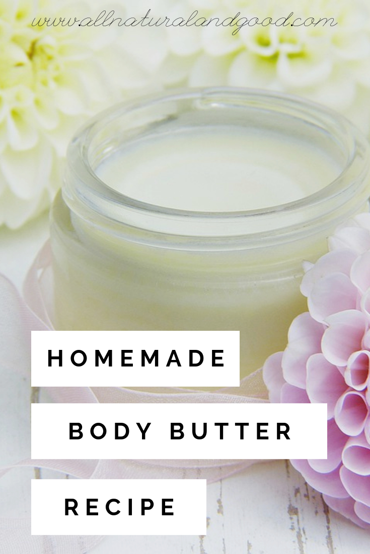 This homemade body butter recipe can be made with different natural scents using your favorite essential oils. Making body butter is easy and all you need is a few natural ingredients that you may have already. Perfect for very dry skin during the winter months. #bodybutter #homemadebodybutter #dryskin #naturalskincare